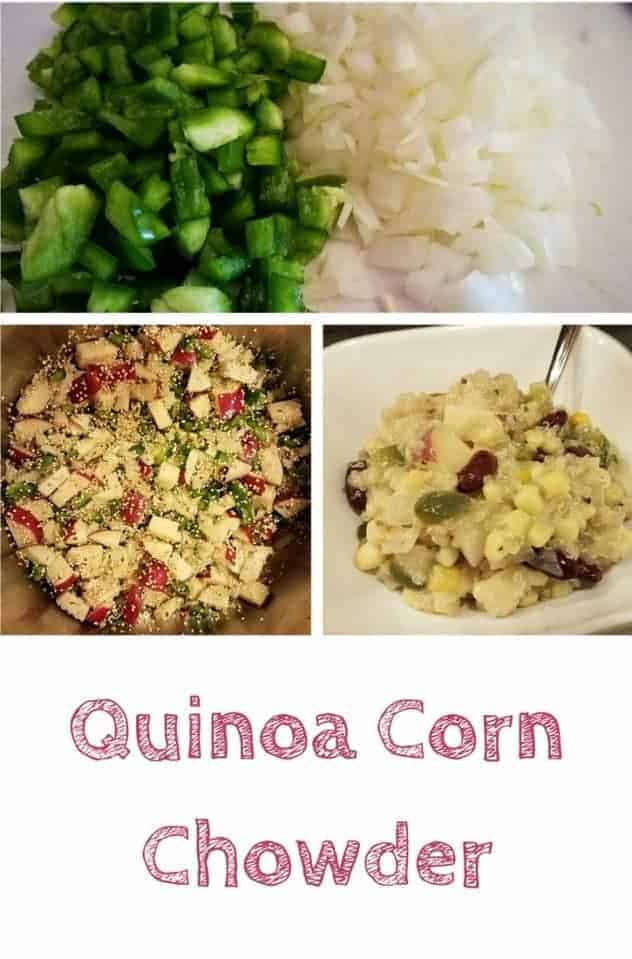 Quinoa corn chowder in a white bowl on a counter. Off to the side are process shots of the diced vegetables and the vegetables being sauteed in a large pot. This is the designated pinterest pin.