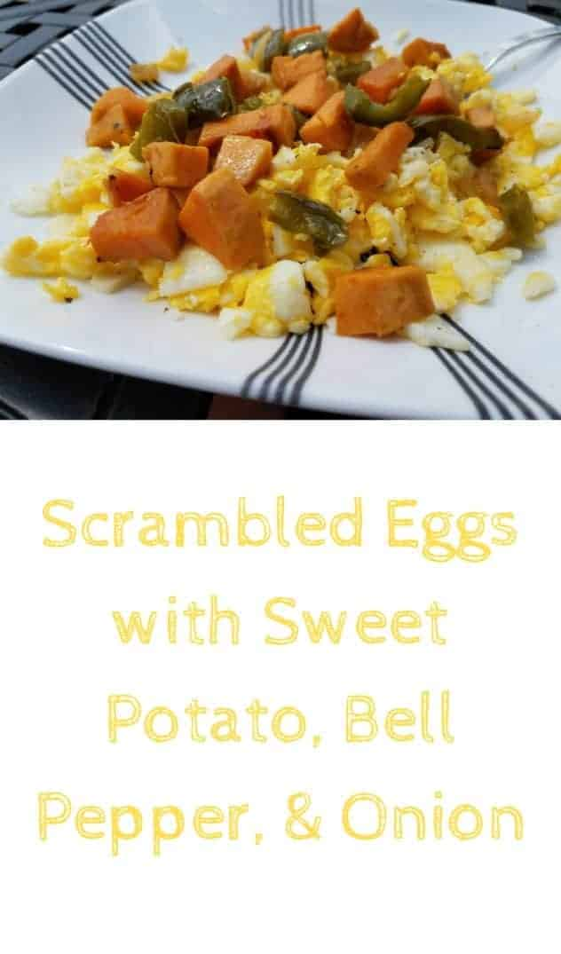Scrambled eggs with sweet potato, bell pepper, and onion on a square white plate. This is the designated pinterest pin.