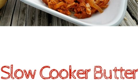 Slow cooker butter chicken in a square white bowl on a picnic table. In the background are some of the raw ingredients including the spices, fruits and vegetables. This is the designated pinterest pin.