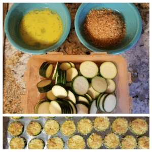 At the top, a bowl of lightly mixed eggs, a bowl of homemade bread crumbs, and a container of raw zucchini slices sit on a countertop. At the bottom, the finished breaded zucchini chips sit on an aluminum foil covered baking sheet.