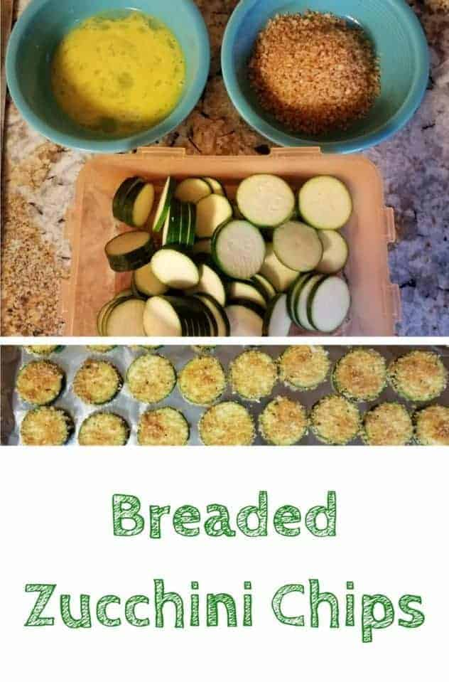 At the top, a bowl of lightly mixed eggs, a bowl of homemade bread crumbs, and a container of raw zucchini slices sit on a countertop. At the bottom, the finished breaded zucchini chips sit on an aluminum foil covered baking sheet. This is the designated pinterest pin.