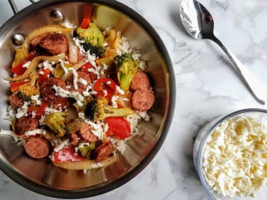 Easy Vegetable, Rice, Kielbasa Skillet