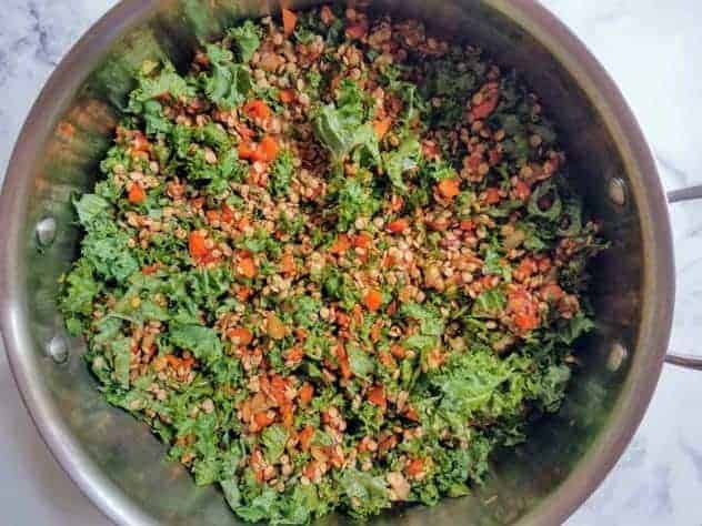 Roughly chopped kale and brown lentils are mixed in with the spiced carrot and onion mixture in a stainless steel pan.
