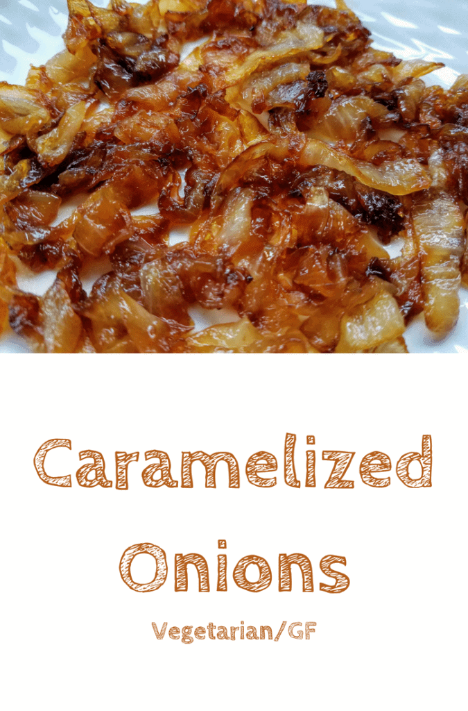Close-up of finished caramelized onions on a white plate. This is the designated Pinterest pin
