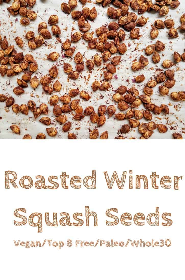 Reduce food waste by roasting your winter squash seeds! Roasted winter squash seeds are high in protein, fiber, vitamins and minerals. Since buying seeds on a regular basis can get expensive, it makes sense to make your own! You can also customize the flavor. I like to eat them on their own, but you can also put them in granola bars, trail mix, or on top of salads! #thepanickedfoodie #roastedsquashseeds #healthyroastedsquashseeds #roasteddelicatasquashseeds