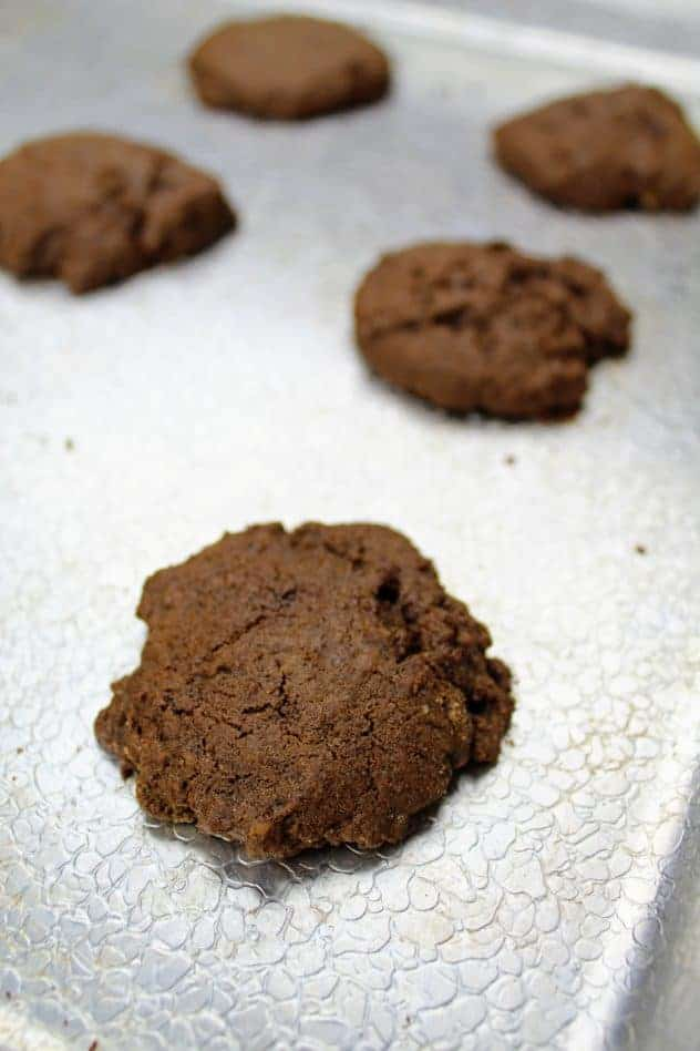 Final chewy molasses cookies on a textured aluminum baking sheet after baking.