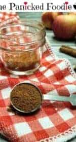 A teaspoon of apple pie spice sits in the foreground, with a jar of the spice, four apples, and two cinnamon sticks sit in the background. The jar and the teaspoon sit on a red and white checkered kitchen towel, whereas the apples and cinnamon sticks sit on a wood plank background. At the top of the image are the words 'The Panicked Foodie,' with the i's colored red and dotted with red hearts. At the end is a black mixing bowl with a red heart on it that contains three sugar cubes.