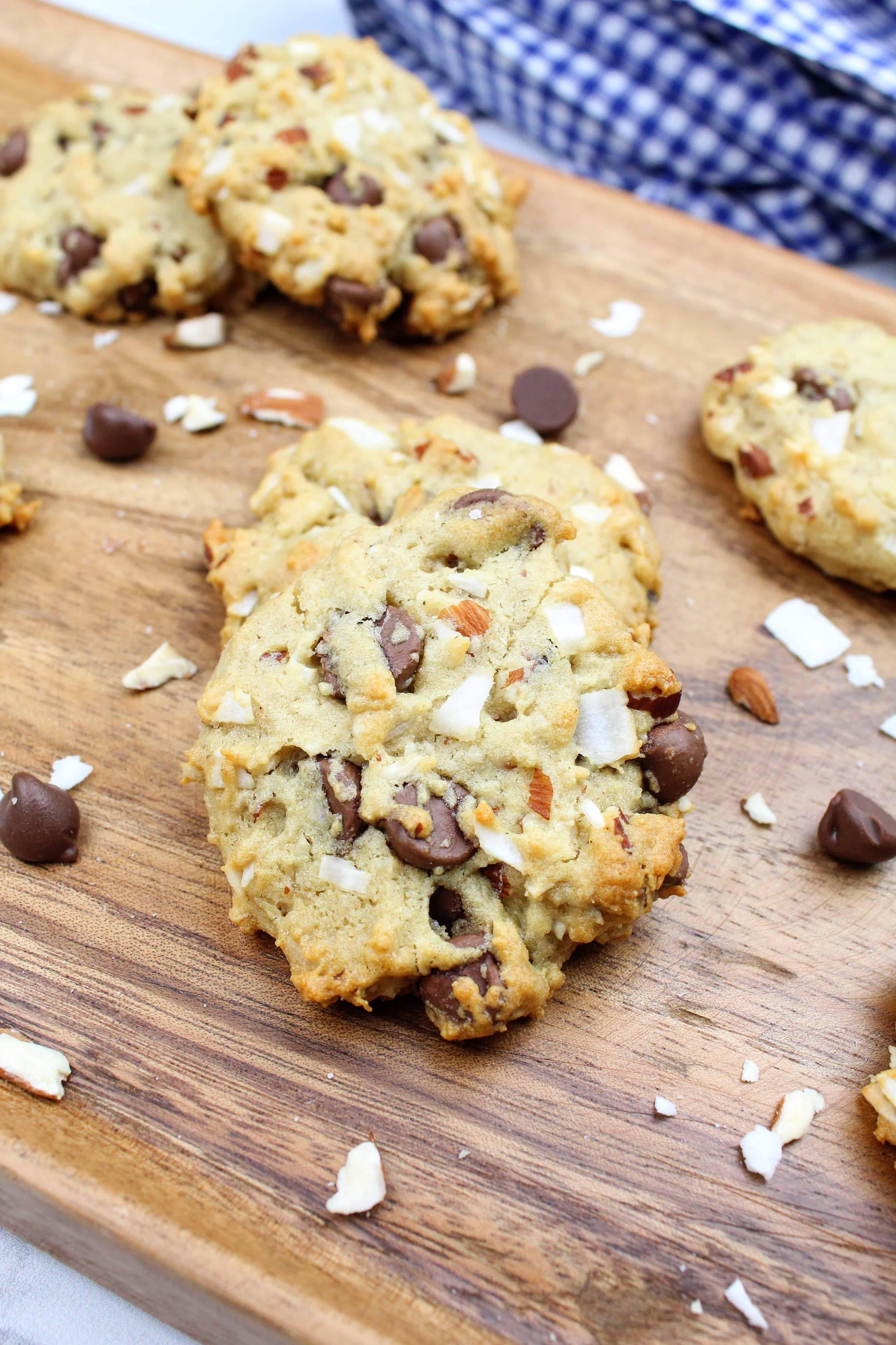 Vegan Almond Coconut Chocolate Chip Cookies {Vegan, Gluten-Free}