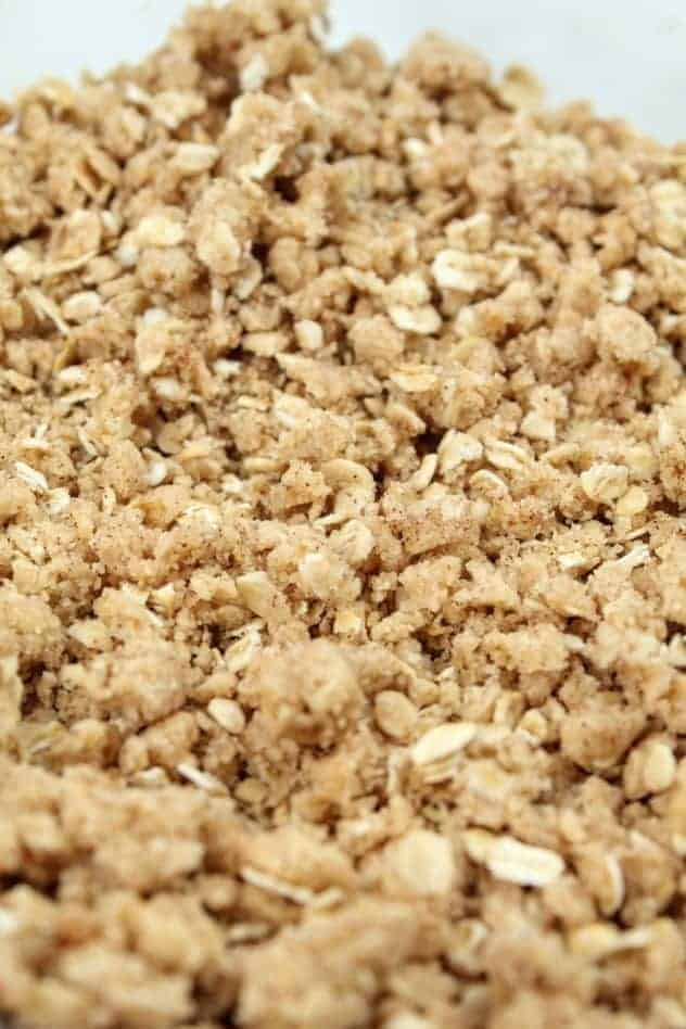 A close up of the oatmeal topping, which includes light brown sugar, gluten-free flour, quick oats, ground cinnamon, and vegan butter.