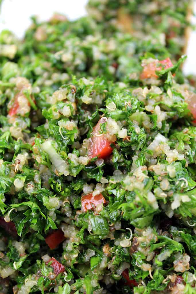 A close-up shot to show the texture of the quinoa tabbouleh.